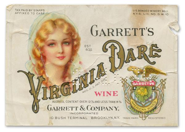 The image of an adult Virginia Dare on a wine label.