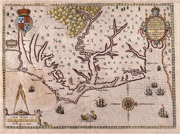 An Elizabethan engraving of eastern North Carolina.