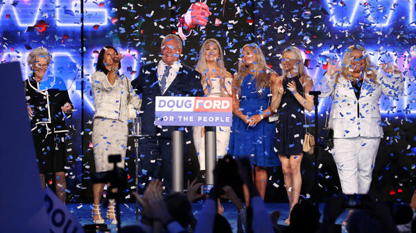 Progressive Conservative (PC) leader Doug Ford and his family celebrate during his election night party on Thursday following the provincial election in Toronto.