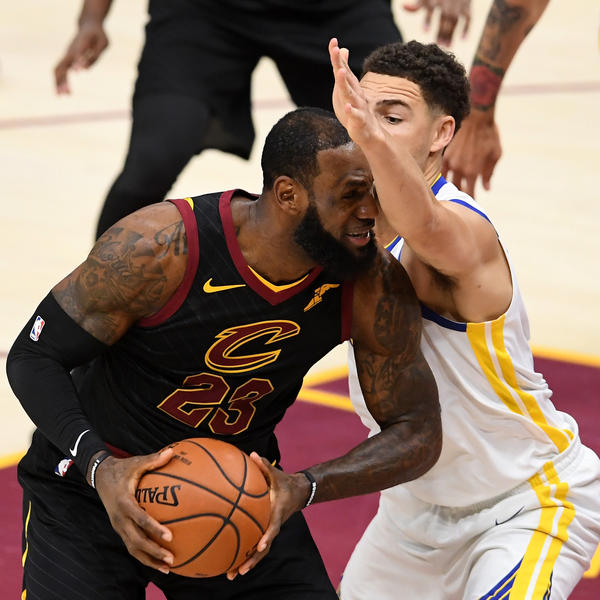 LeBron James runs into an extended metaphor Friday against Klay Thompson of the Golden State Warriors during Game Four of the 2018 NBA Finals at Quicken Loans Arena on in Cleveland. Though James put in his typically stellar performance in the Finals, Warriors easily swept the Cavaliers.