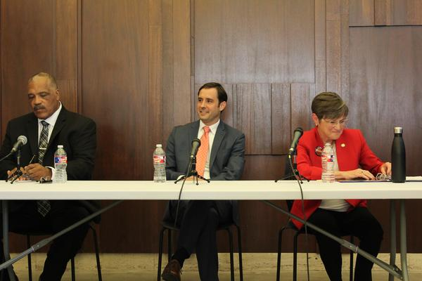 Carl Brewer, Josh Svaty and Laura Kelly met for a debate in Wichita on Friday evening.