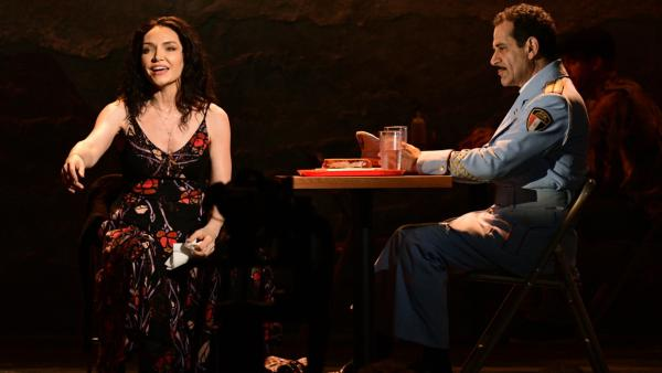 "Katrina Lenk and Tony Shalhoub perform ""Omar Sharif"" from <em>The Band's Visit </em>at the Tony Awards on Sunday night."