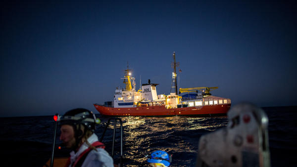 The Aquarius, a former North Atlantic fisheries protection ship now used by humanitarian groups SOS Mediterranee and Medecins Sans Frontieres (Doctors Without Borders), is seen in December 2017 during a rescue operation in the Mediterranean Sea. The rescue ship was stranded this weekend after Italy and Malta refused to allow it to dock.