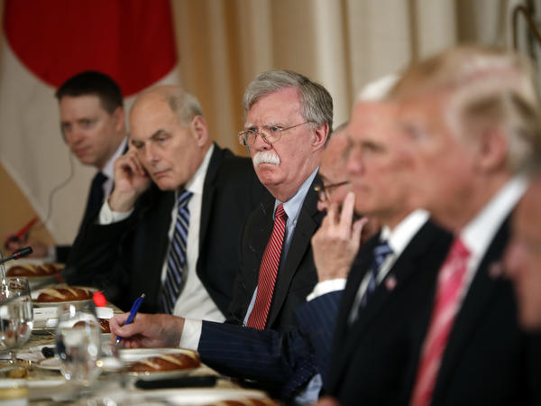 White House chief of staff John Kelly (second from left) and national security adviser John Bolton attended a working lunch with Japanese Prime Minister Shinzo Abe at Trump's Mar-a-Lago club on April 18.