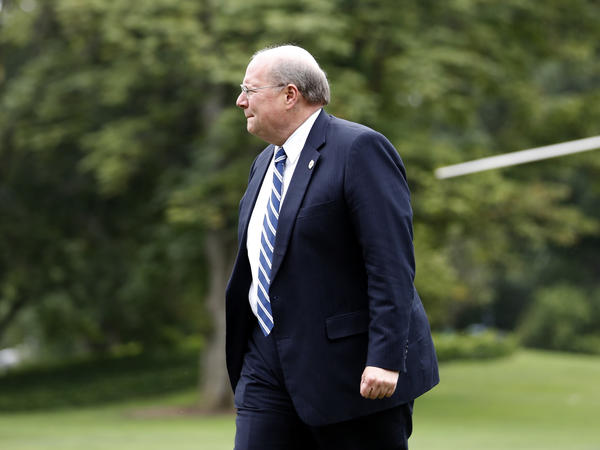White House Deputy Chief of Staff for Operations Joe Hagin walks to the White House on Aug. 14, 2017.