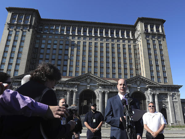 Matthew Moroun announces the sale of Michigan Central Station to the Ford Motor Company on Monday in Detroit.