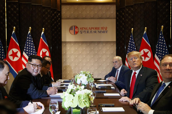 Following a 38-minute one-on-one meeting, Kim and Trump proceeded to the expanded bilateral meeting with national security adviser John Bolton, Secretary of State Mike Pompeo and chief of staff John Kelly on one side and North Korea's Vice Chairman Kim Yong Chol, Foreign Minister Ri Yong Ho and former Foreign Minister Ri Su Yong on the other.
