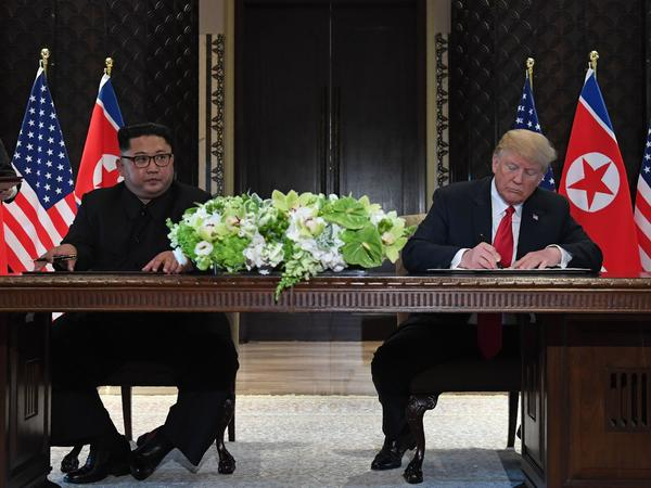 """I think he wants to get it done. I really feel that very strongly,"" President Trump says of the pledge by North Korea's leader Kim Jong Un to end a decades-old nuclear stand-off."
