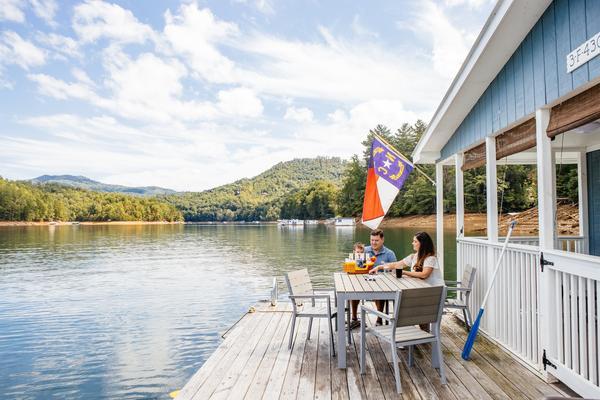 A floating home on the Fontana Lake in North Carolina.