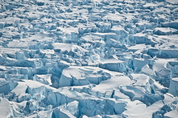 Crevasses near the grounding line of Pine Island Glacier, Antarctica.