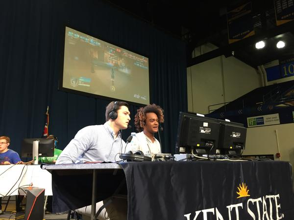 Zachary Blanner (left) and Charles Johnson were the 'shoutcasters' (play-by-play announcers) calling the action at Kent State's first eSports tournament.