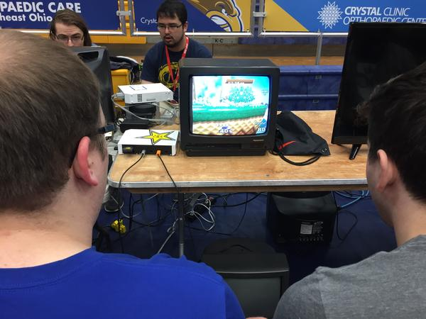 The eSports tournament also featured a retro area with the game 'Smash Brothers' on old-fashioned CRT televisions .