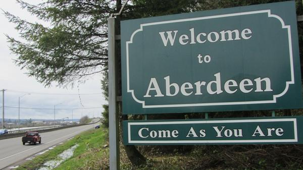 "The welcome sign to Aberdeen, Wash., includes ""Come As You Are,"" as tribute to Nirvana's Kurt Cobain, who grew up in the city. The city museum housing artifacts from his childhood burned down June 9."
