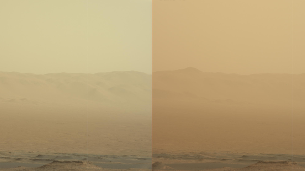 These two views from NASA's Curiosity rover, acquired specifically to measure the amount of dust inside Gale Crater, show that dust has increased over three days from a major Martian dust storm. The left-hand image shows a view of the east-northeast rim of Gale Crater on June 7, 2018 (Sol 2074); the right-hand image shows a view of the same feature on June 10, 2018 (Sol 2077).