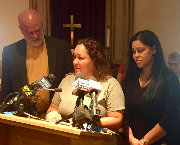 Gisella Collazo speaks about her stay of deportation at Springfield's South Congregational Church on June 11, 2018.