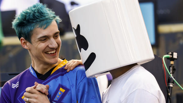 Tyler Blevins, known as Ninja, left, and DJ Marshmello, after winning the Epic Games Inc. Fortnite: Battle Royale Celebrity Pro-Am on Tuesday, June 12, 2018.