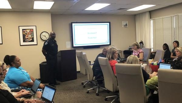 Duval School Police Chief Micheal Edwards updated the distrct about  hiring school safety assistants.