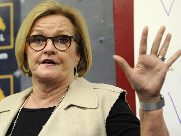 Sen. Claire McCaskill, D-Mo., speaks to supporters at the opening of her campaign field office on May 18 in Ferguson, Mo.
