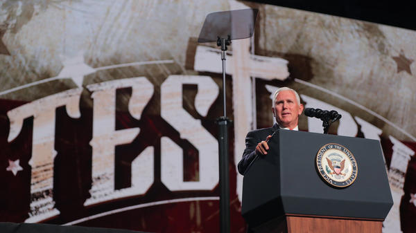 Vice President Mike Pence speaks at the Southern Baptist Convention meeting on Wednesday in Dallas.