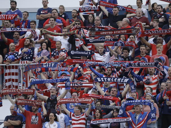 United States fans cheer during an international friendly soccer match against Bolivia last month in Chester, Pa.