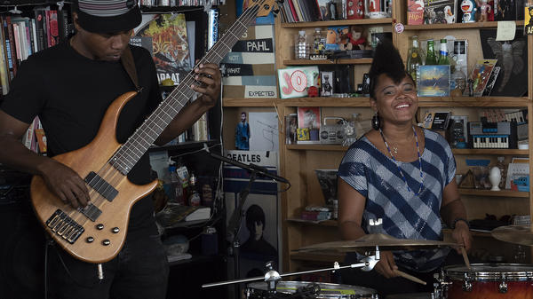 Yissy García & Bandancha perform a Tiny Desk Concert May 10, 2018 (Eslah Attar/NPR).