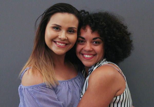 """""""I always wished for siblings,"""" Alexandra Sanchez (left) tells Courtney McKinney during their April StoryCorps conversation in Dallas."""