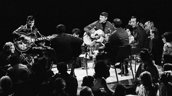Drummer D.J. Fontana (far right), on stage with Elvis Presley during the singer's landmark 1968 comeback TV special. Fontana died Thursday at age 87.