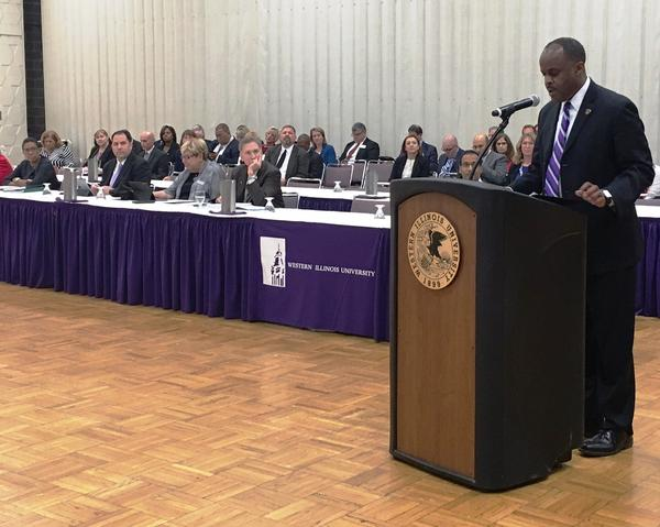 WIU President Jack Thomas told the IBHE about Western's history and high marks in the Princeton Review and the U.S. News and World Report.