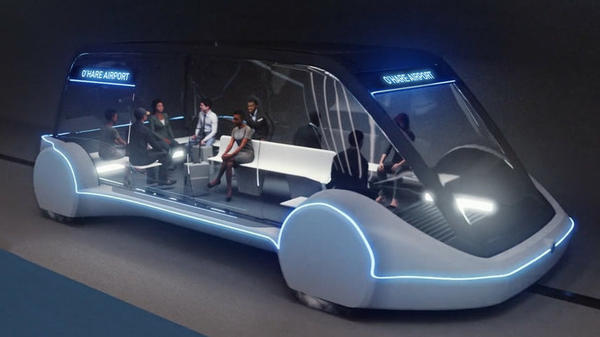 "An artist's rendering shows the design of an ""electric skate"" vehicle that the Boring Company says could travel up to 150 mph and whisk passengers to and from Chicago's O'Hare Airport in minutes."