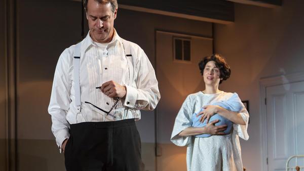 Actors Josh Stamberg (son of NPR's Susan Stamberg) and Joanne Kelly as Arthur Miller and Inge Morath in <em>Fall.</em>