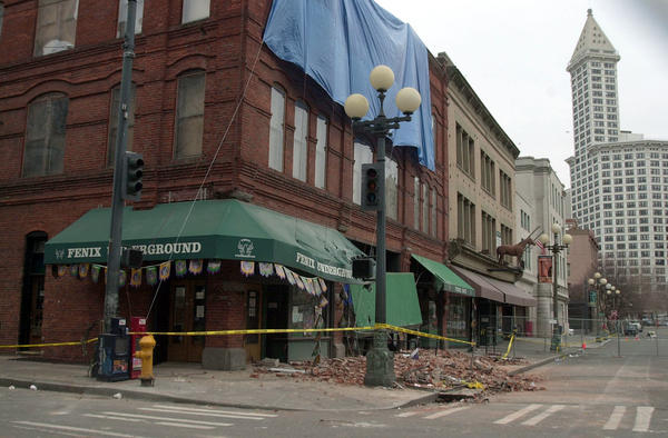 File photo of an unreinforced masonry (URM) building in Seattle's Pioneer Square neighborhood after the 2001 Nisqually earthquake.