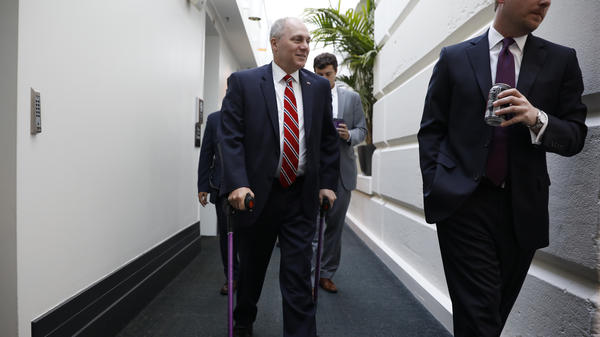 U.S. Rep. Steve Scalise, R-La., arrives for a June 6 House Republican Conference meeting on Capitol Hill.