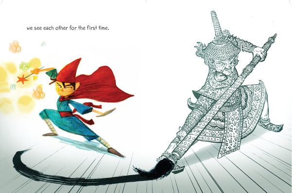 "In <em>Drawn Together </em>a boy and his grandfather paint themselves as heroes. ""I wanted to have a book that was both emotionally resonant but also exciting for kids,"" says author Minh Lê. (A ""very ferocious"" dragon appears a few pages later.)"