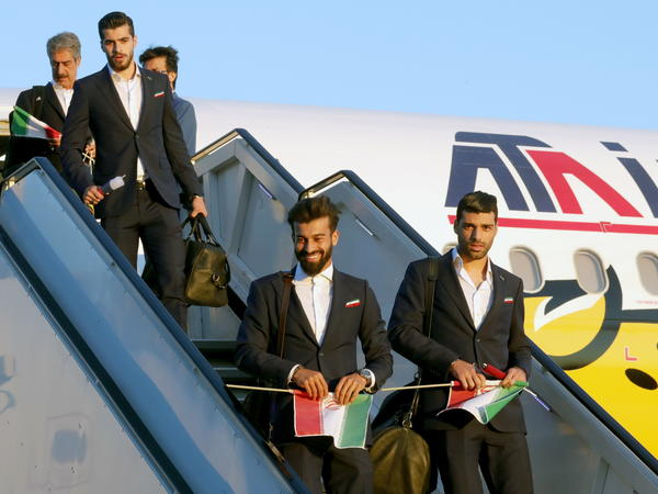 The Iranian team arrives at Moscow's Vnukovo International Airport last week.