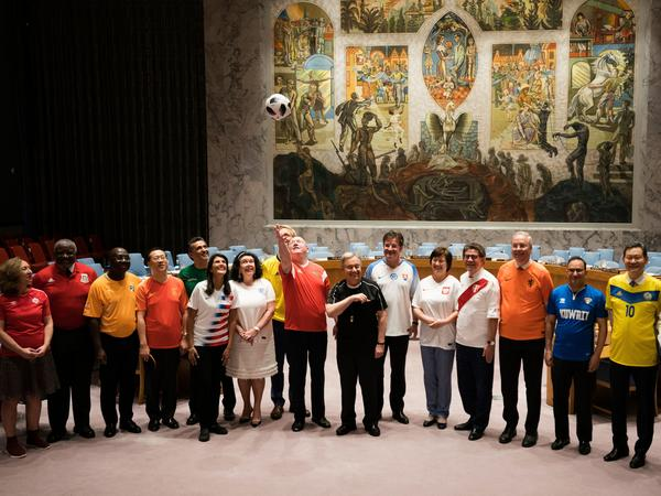 Security Council members wore soccer jerseys on Thursday at the United Nations in New York.