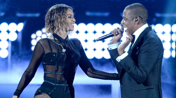 "Beyoncé and Jay-Z, seen here performing ""Drunk In Love"" at the Grammy Awards in 2014, released a joint album called <em>Everything Is Love</em> on Saturday."
