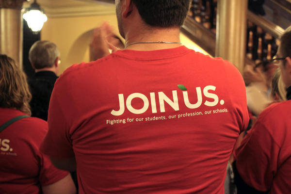 Members of the state's largest teachers union gather at the Capitol earlier this year to lobby lawmakers.