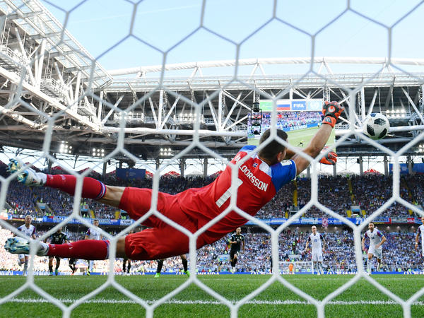 Hannes Halldorsson of Iceland saves a penalty kick by Lionel Messi of Argentina on Saturday in Moscow.