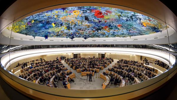 The United Nations Human Rights Council in Geneva, seen earlier this year during a presentation on the conflict in Syria. On Tuesday, Secretary of State Mike Pompeo and Ambassador Nikki Haley announced that the U.S. will be withdrawing from the council.