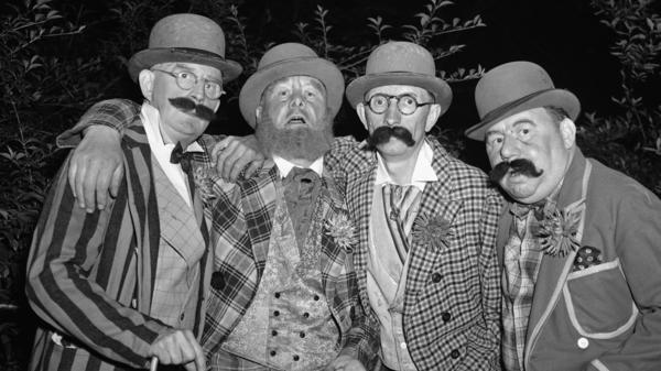 Members of the Knickerbocker Four, photographed during a Barbershop Quartet Contest on June 20, 1946 in Central Park.