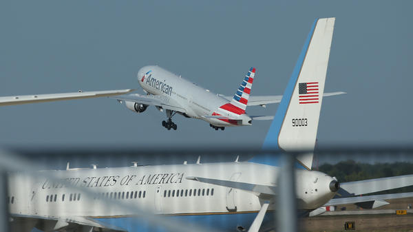 An American Airlines plane departs Joint Base Andrews in Maryland in 2015. American, United and Frontier all released statements on Wednesday saying they did not want to be involved in transporting migrant children who have been separated from their families because of a Trump administration policy.