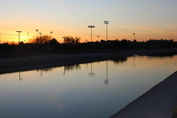 A Central Arizona Project canal moves the Colorado River's water through Scottsdale, Arizona.