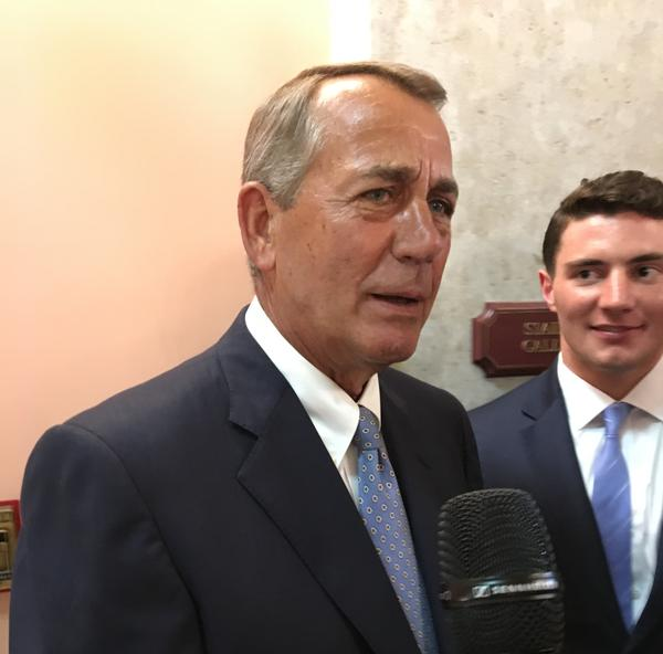 Former U.S. House Speaker John Boehner declined to take questions from reporters after his speech at the Ohio House.