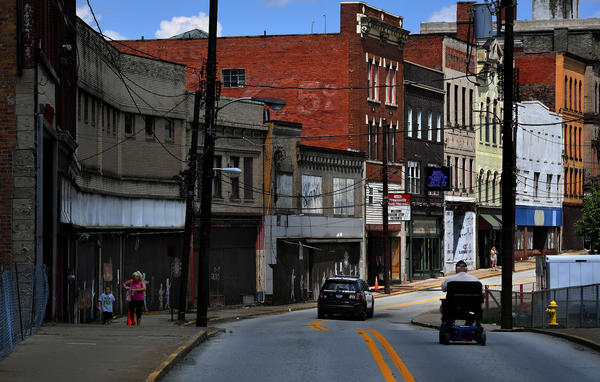 Shuttered businesses and abandoned buildings are a common sight in the southwestern Pennsylvania town of Brownsville. Pennsylvania is one of 26 states with an increasing mortality rate among whites.