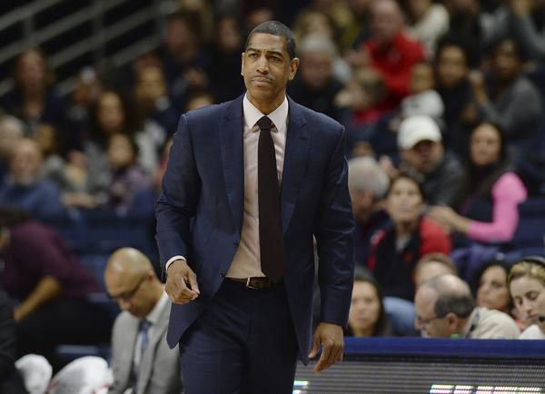 Connecticut head coach Kevin Ollie during the first half an NCAA college basketball game in February in Storrs, Conn.