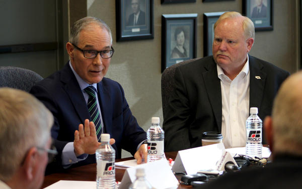 EPA Administrator Scott Pruitt talks with agriculture industry groups in Lincoln, Nebraska, Thursday as part of a Midwest tour promoting a revised definition of the federal Waters of the United States rule.
