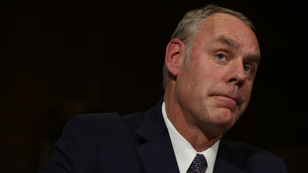 Interior Secretary Ryan Zinke at his confirmation hearing last year. Congressional Democrats and a public watchdog group are calling for an ethics investigation into Zinke over a land deal between his family foundation and oil and gas company Halliburton.