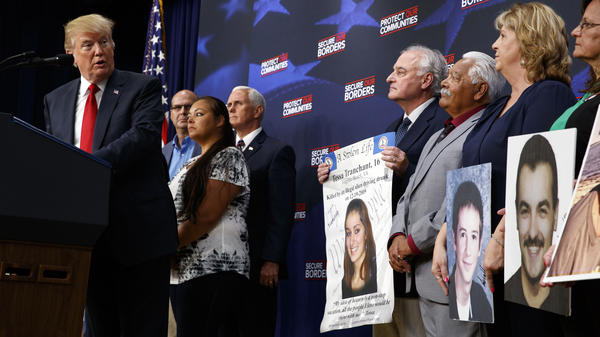 President Trump speaks about immigration alongside family members affected by crime committed by undocumented immigrants, at the White House Friday.