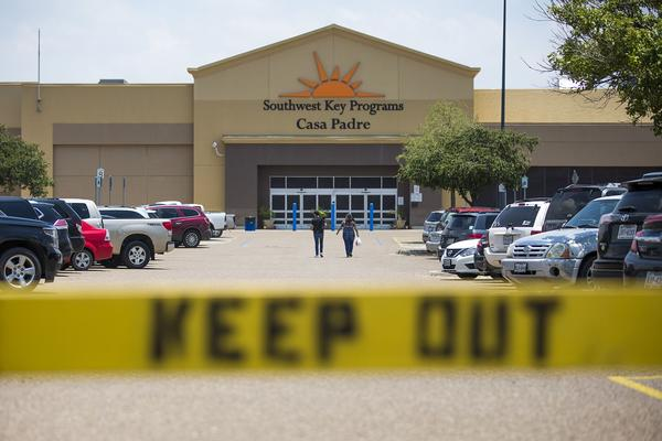 The former Walmart which is a shelter for more than 1,000 children in Brownsville Texas. (Jesse Costa/WBUR)