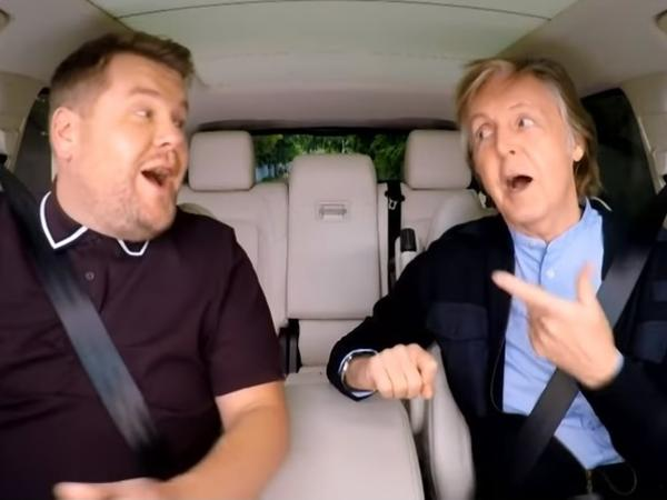 James Corden hosts Paul McCartney in <em>Carpool Karaoke</em><em>.</em>